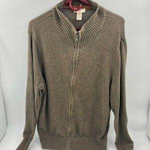 Dockers Sweater-Men's L-Mock Neck-Full Zip-Brown
